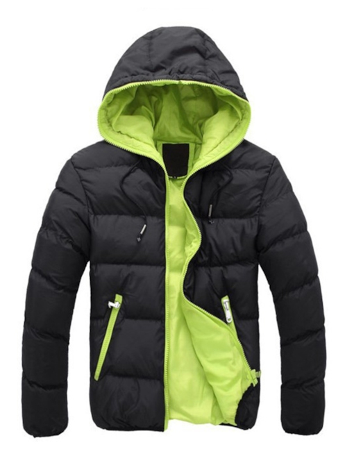 Hooded Color Block Zipper Thicken Warm Slim Men's Winter Jacket