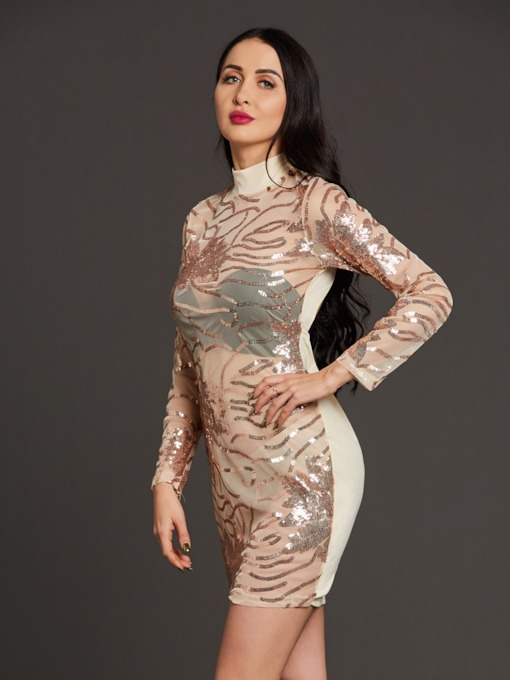 Open Back Sequins See-Through Women's Bodycon Dress