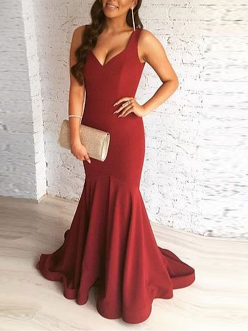 Straps Trumpet Draped Sleeveless Sweep Train Evening Dress