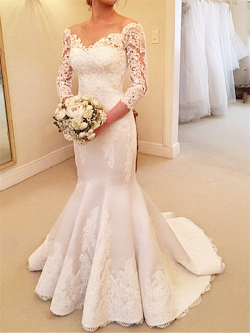 Lace V-Neck 3/4 Sleeves Buttons Mermaid Wedding Dress