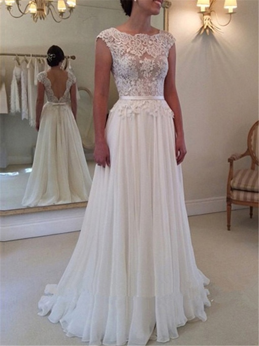 Cap Sleeves Backless A-Line Lace Beach Wedding Dress