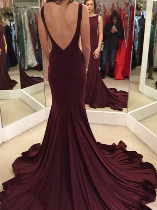 Mermaid Bateau Sleeveless Backless Chapel Train Evening Dress