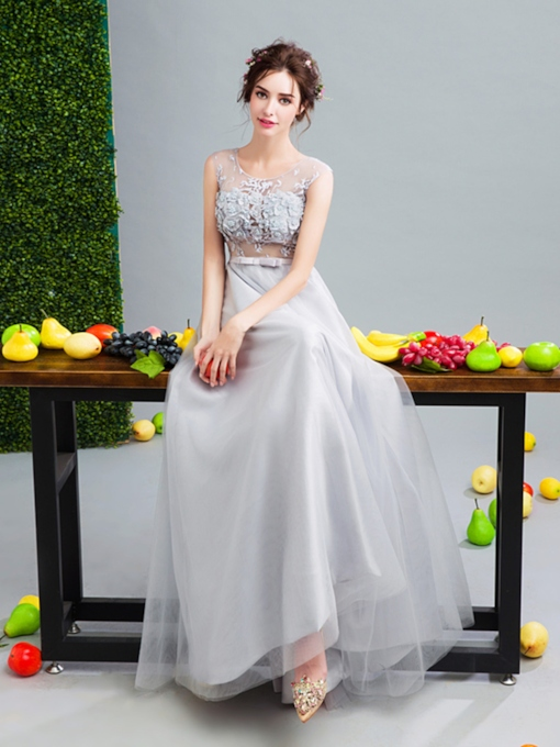A-Line Appliques Lace Pearls Evening Dress