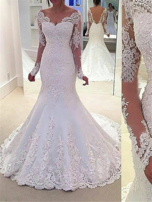 Sequins Appliques Mermaid Long Sleeve Wedding Dress