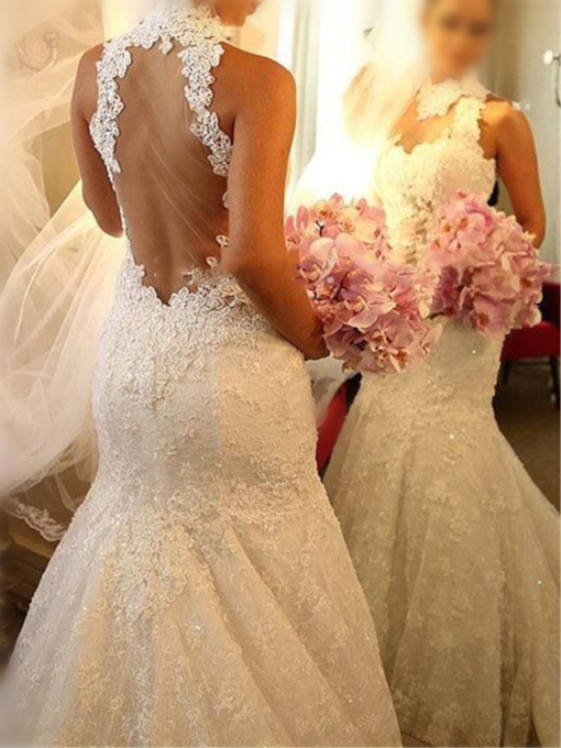 Sheer Back Sequins Lace Mermaid Wedding Dress