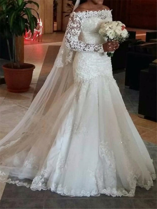 Lace Off-The-Shoulder Mermaid Wedding Dress with Long Sleeve