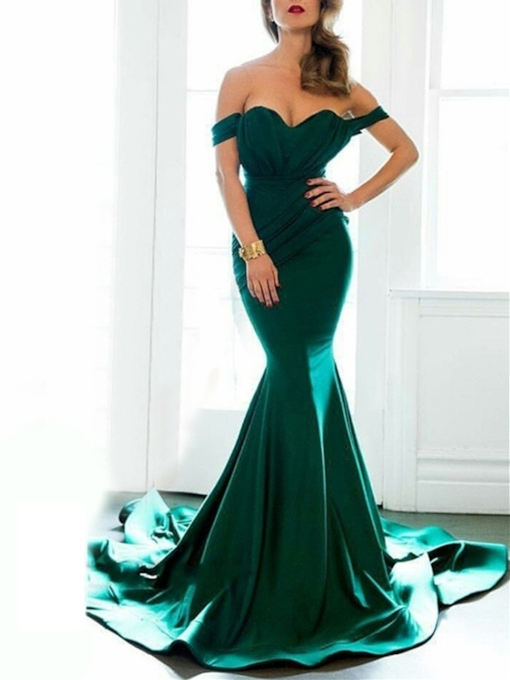 Off-the-Shoulder Ruched Mermaid Evening Dress