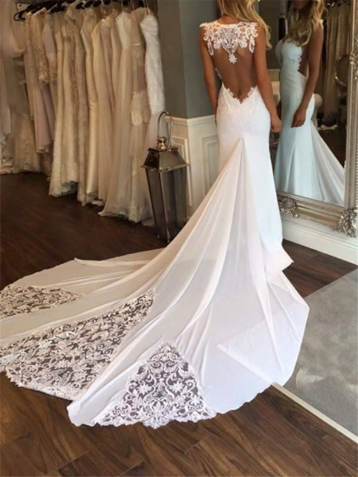 Sexy Open Back Mermaid Lace Wedding Dress