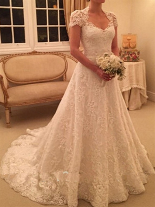 Button Back Cap Sleeves Lace Wedding Dress