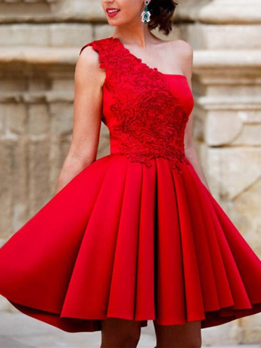 One-Shoulder A-Line Appliques Draped Short Homecoming Dress