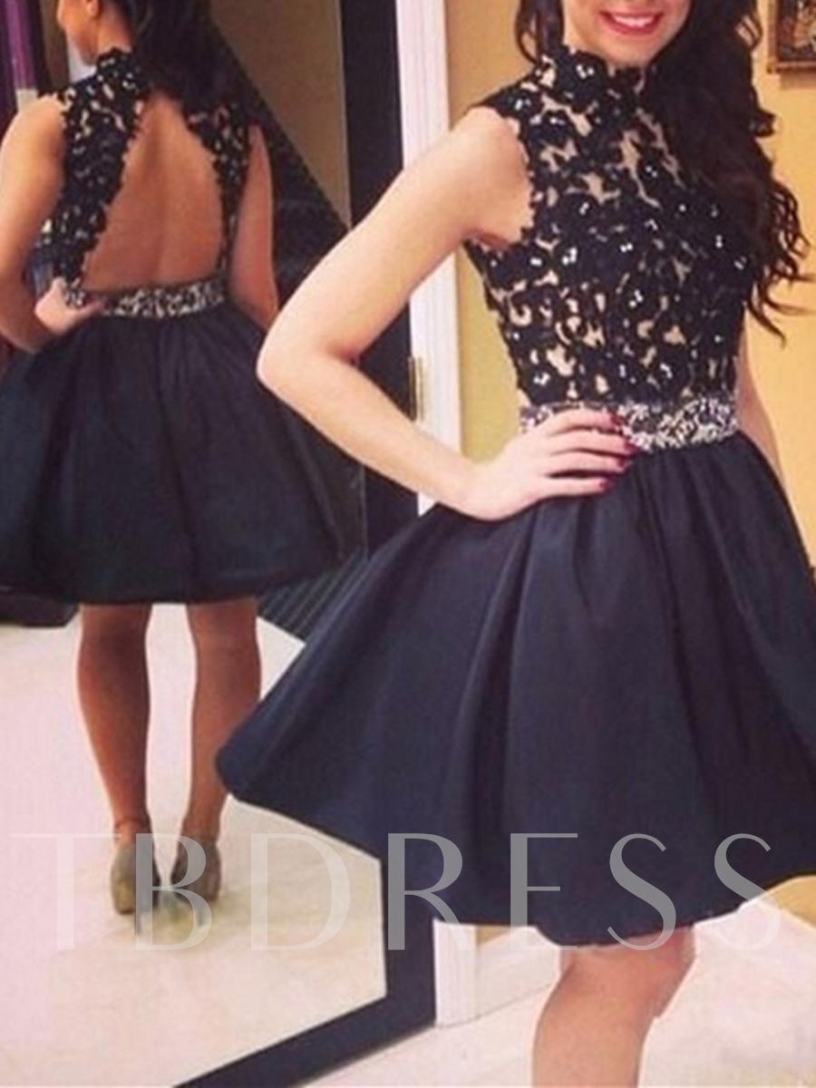 Image of A-Line High Neck Appliques Beading Knee-Length Homecoming Dress