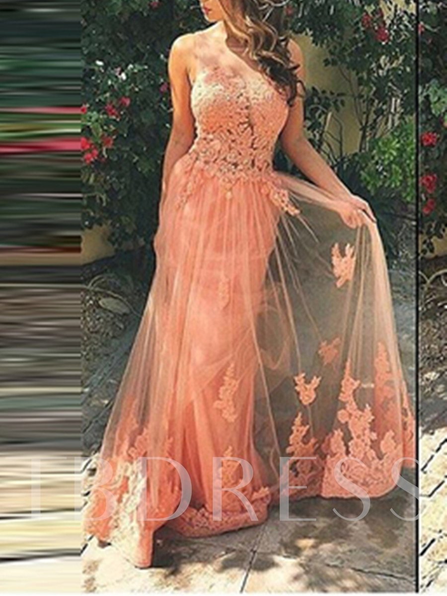 Image of A-Line Straps Appliques Brush Train Prom Dress
