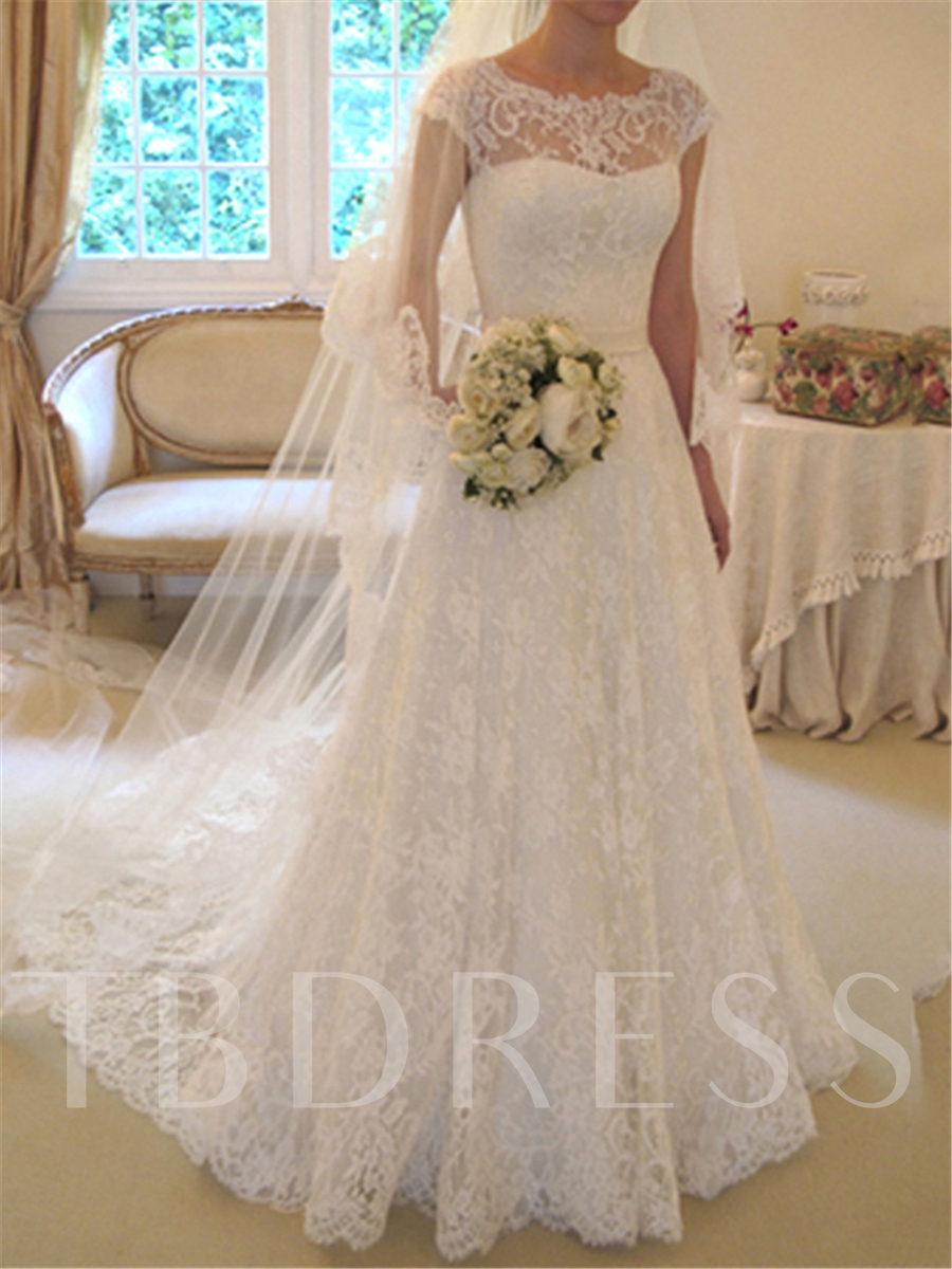 Image of A-Line Cap Sleeves Lace Wedding Dress