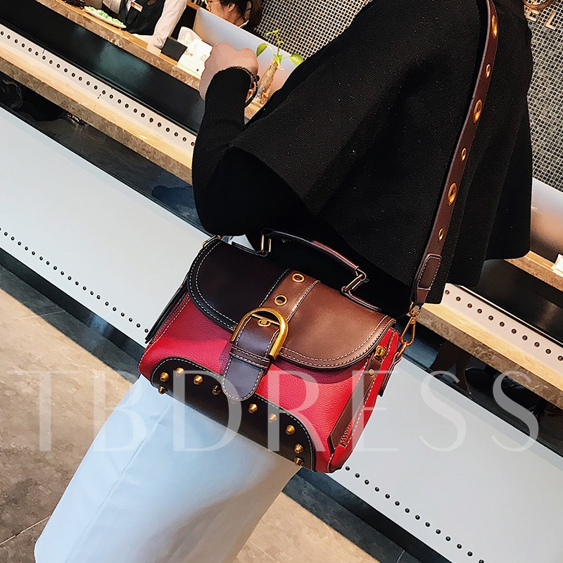 Fashion Color Block Rivet Cross Body Bag