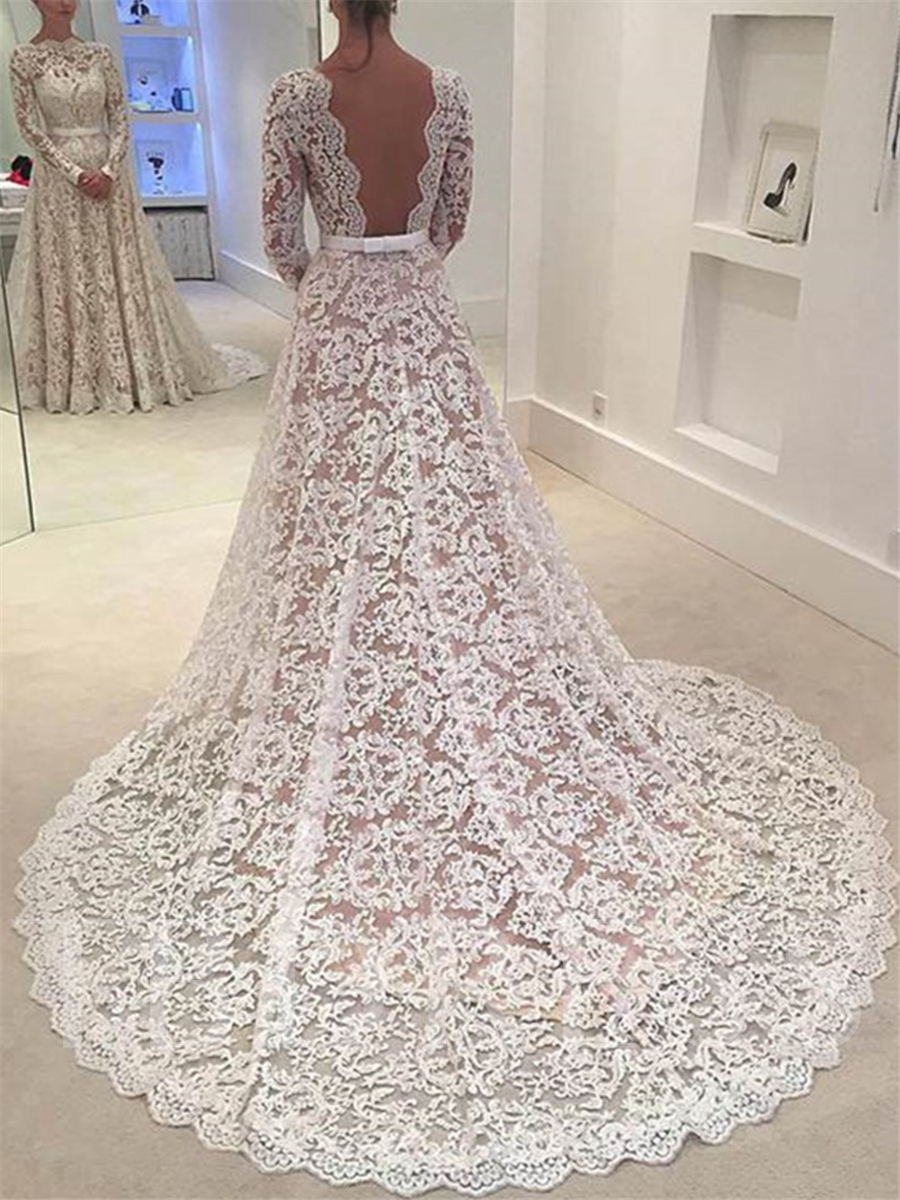 low back lace wedding dress with long sleeve tbdresscom