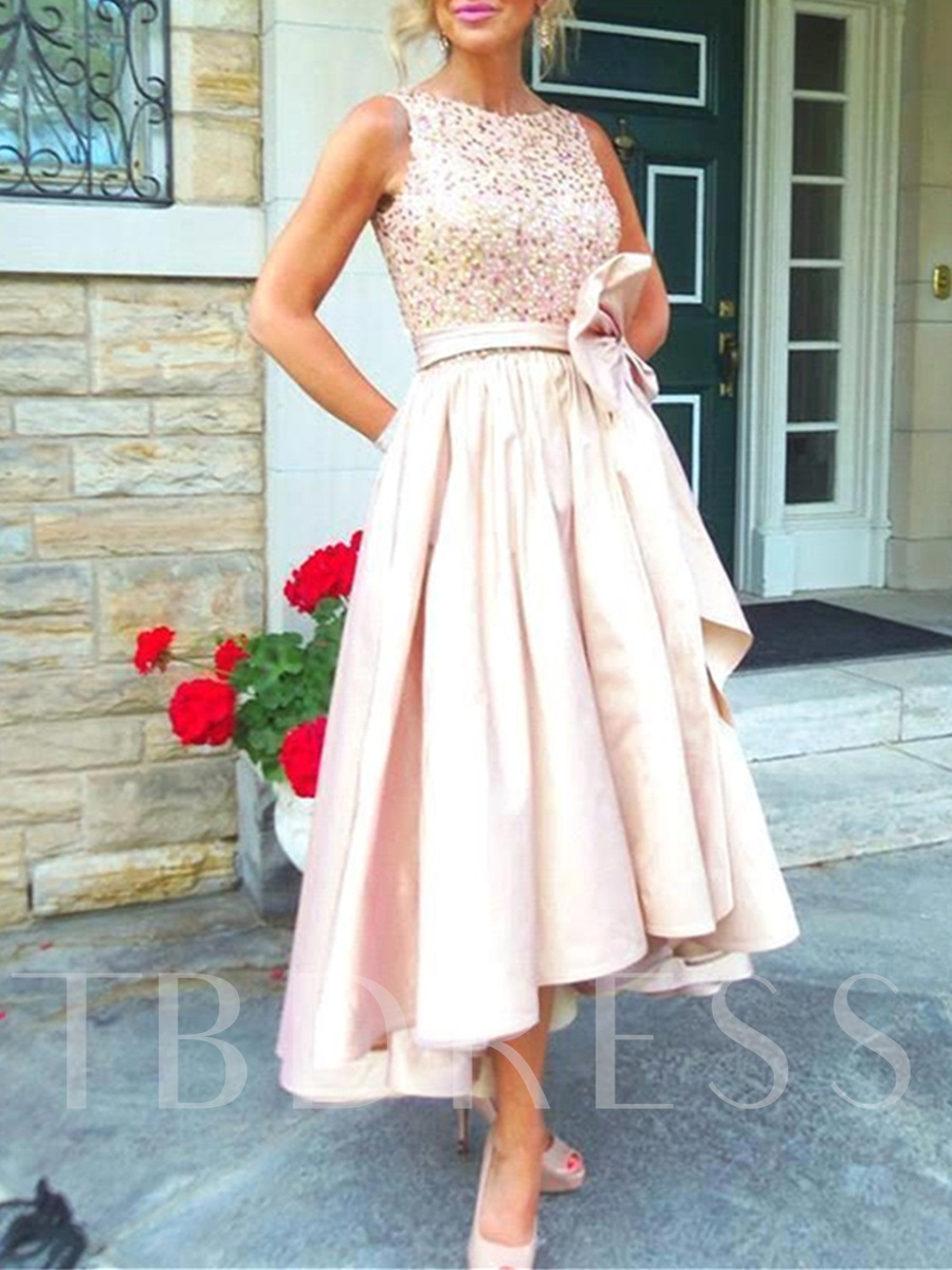 Beaded Top High Low Mother of the Bride Dress