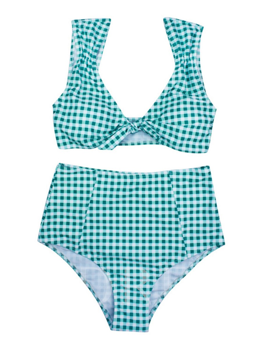 Plaid Knotted High-Waist Bikini Set
