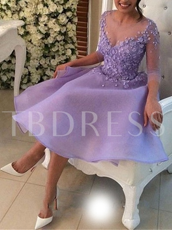 Appliques Beading Flowers Homecoming Dress