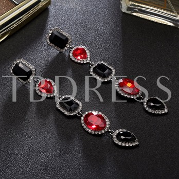 Rhinestone Alloy Geometric Diamante Earrings