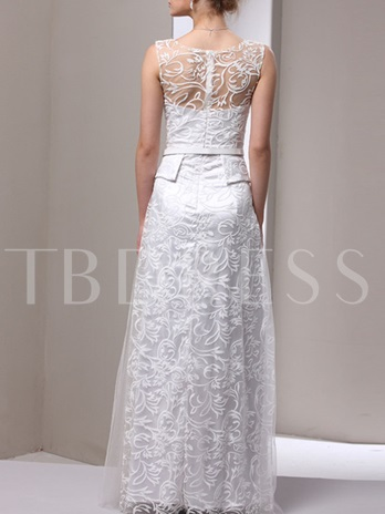 Sheath Scoop Embroidery Lace Mother of the Bride Dress