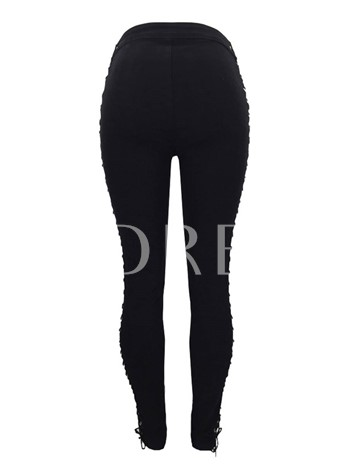 Plain High Waist Hollow Lace-Up Women's Pants