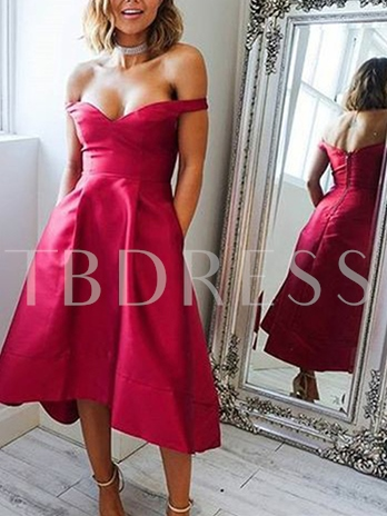 A-Line Off-the-Shoulder Ankle-Length Zipper-Up Homecoming Dress