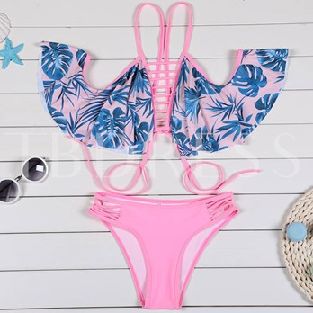 Leaf Print Falbala Hollow Bikini Set