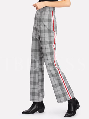 Bellbottom High-Waist Plaid Women's Pants