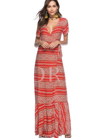 Short Sleeve Lace up Printing Women's Maxi Dress
