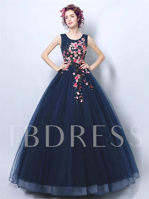 Scoop Embroidery Quinceanera Dress