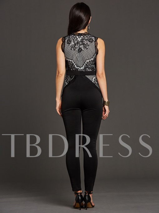 Sleeveless Mesh Lace Skinny Women's Jumpsuit