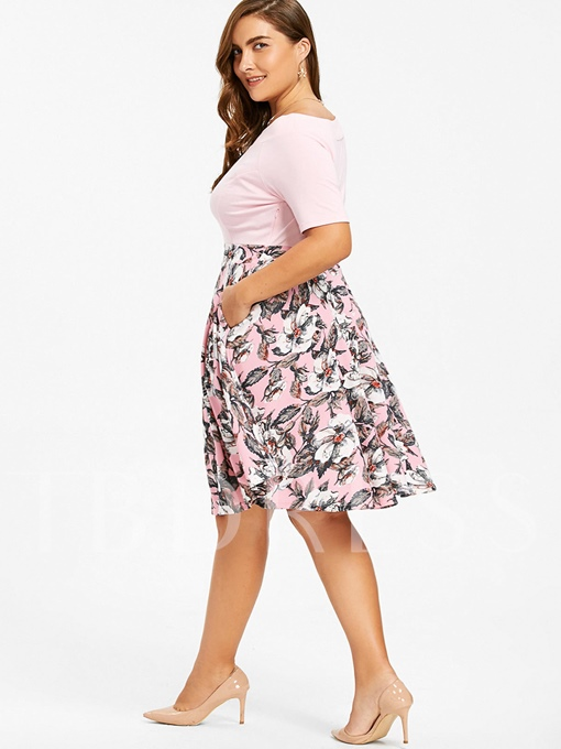 Slash Neck Printing Plus Size Women's Day Dress