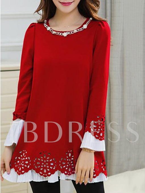 Hollow Mid Length Faux Pearl Women's Blouse
