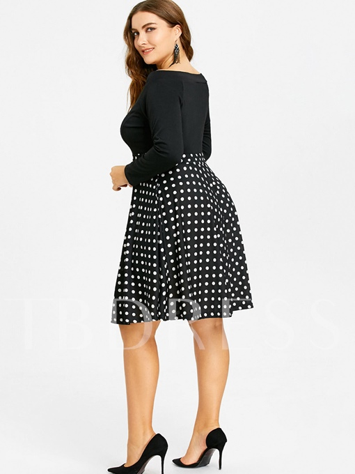 Slash Neck Plus Size Pockets Women's Day Dress