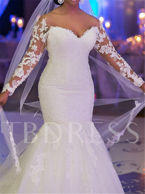 Long Sleeve Appliques Mermaid Plus Size Wedding Dress