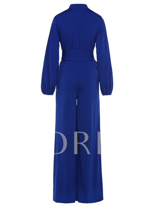 Loose Puff Sleeves Belt High-Waist Women's Jumpsuits