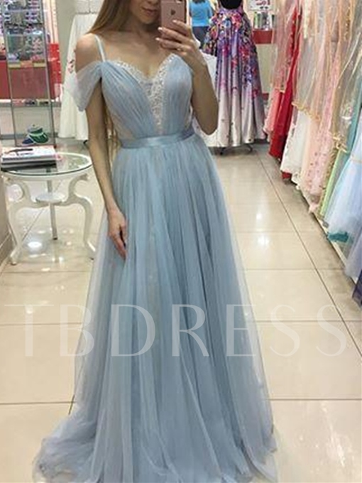 A-Line Lace Pleats Sashes Off-the-Shoulder Floor-Length Prom Dress