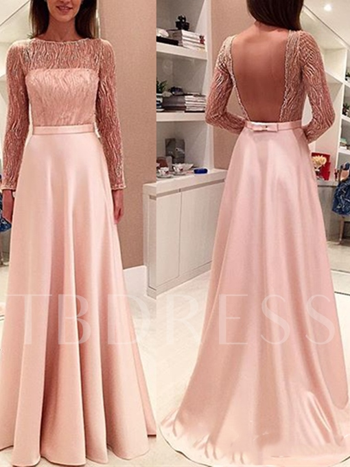 A-Line Long Sleeves Beading Bowknot Sashes Bateau Backless Evening Dress