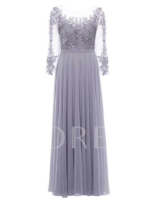Scoop Neck Lace-Up Appliques A Line Evening Dress