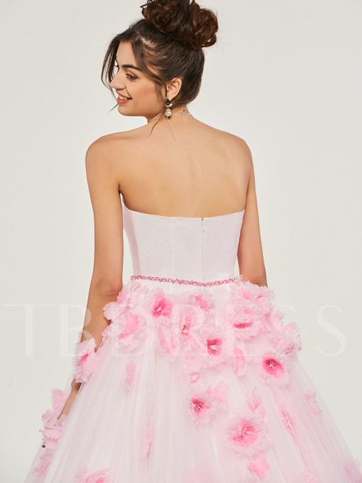 Flowers Tulle Sweetheart Quinceanera Dress