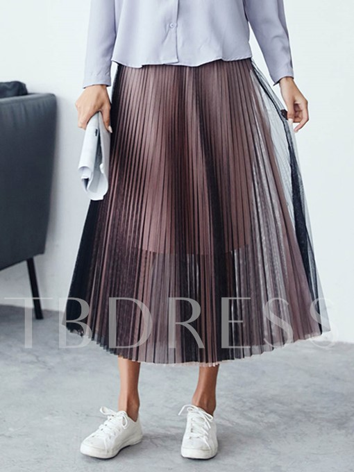 High Waist Plain Two-Piece Women's Pleated Skirt