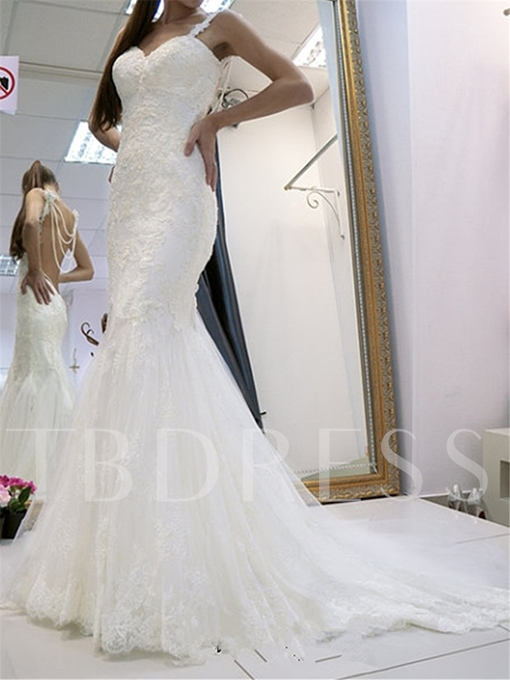 Spaghetti Straps Appliques Open Back Mermaid Wedding Dress