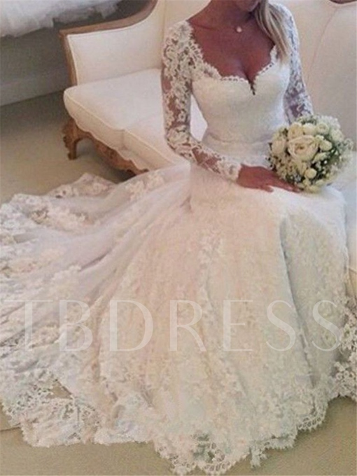 Deep V-Neck Lace Wedding Dress with Long Sleeve