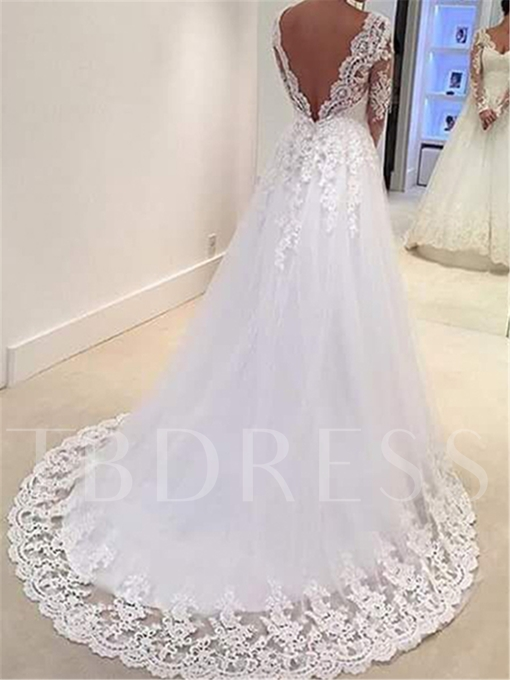 Low Back Appliques Long Sleeve Wedding Dress