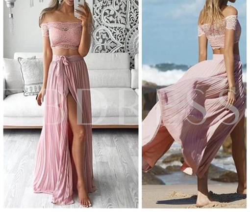 A-Line Lace Sleeveless Pleats Sashes Off-the-Shoulder Prom Dress