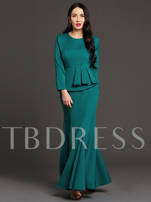 Green Double-Layered Bodycon Women's Maxi Dress