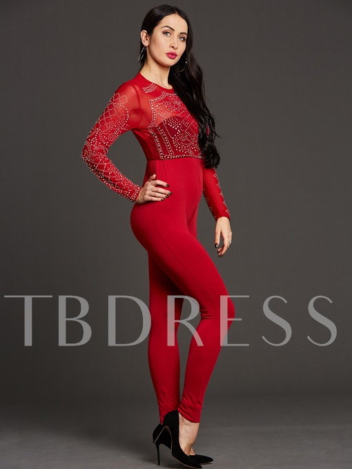 Long Sleeve Pure Color Tight Round Neck Women's Jumpsuits