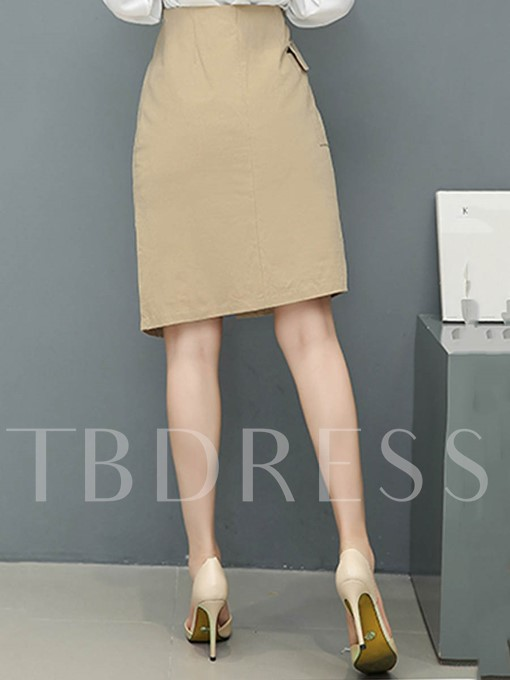 Plain Asymmetric Button Mid-Waist Women's Skirt