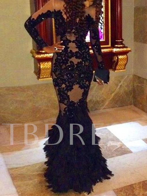 Long Sleeves Mermaid Appliques Beading Lace Floor-Length Evening Dress