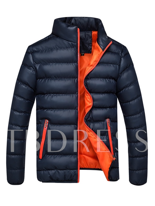 Stand Collar Zipper Solid Color Plain Slim Fit Men's Winter Coat